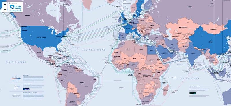 Aquí están todos los cables submarinos que hacen posible Internet