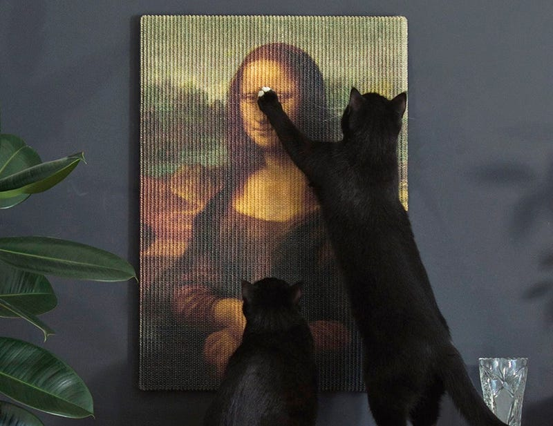 Illustration for article titled Masterpiece Scratching Posts Let Your Cats Destroy Priceless Works of Art