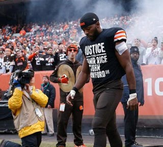 On Dec. 14, 2014, the Cleveland Browns' Andrew Hawkins wore a T-shirt during warm-ups and pregame introductions to protest the deaths of Tamir Rice and John Crawford.Twitter