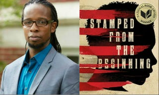 Ibram X. Kendi; the cover of his book, Stamped From the Beginning: The Definitive History of Racist Ideas in Americaibrahm.org; Amazon.com