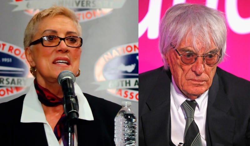 Shirley Muldowney (left) and Bernie Ecclestone (right). Photo credits: Getty Images