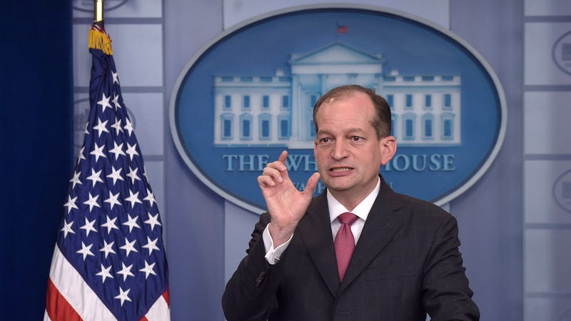 Labor Secretary Alexander Acosta speaks during the daily briefing at the White House in Washington, Monday, June 12, 2017. (Photo: AP)