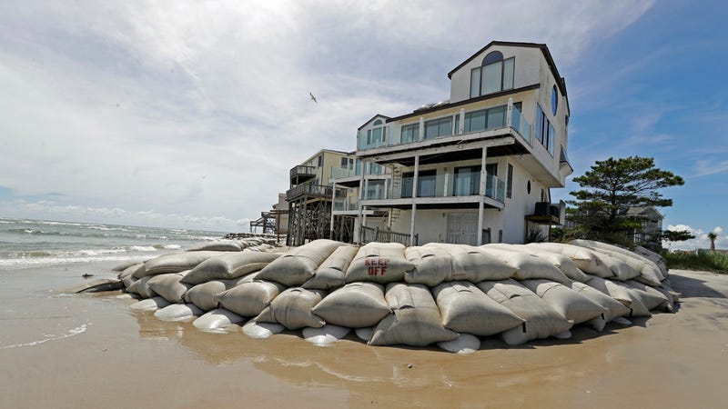 A home in North Topsail Beach, North Carolina, surrounded by sandbags before Hurricane Florence on September 12th, 2018.
