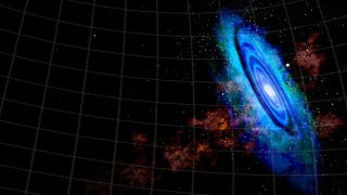 Illustration for article titled Near collision creates a bridge of gas between Andromeda and another galaxy