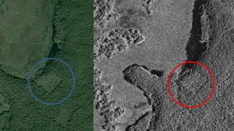 Google Earth and satellite photos appear to reveal the site of a pyramid cloaked in foliage. (Image: Google Earth, CSA)