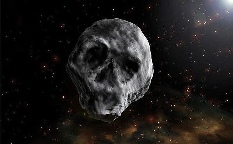 Illustration for article titled El asteroide con forma de cráneo humano pasará por la Tierra después de Halloween