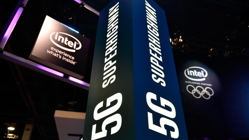 Intel signage advertising 5G technology at CES 2018 in Las Vegas, January 2018.