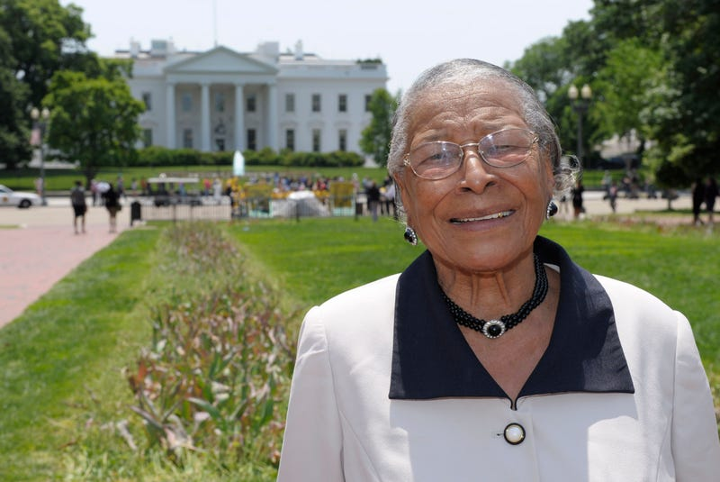Recy Taylor stands in Lafayette Park in Washington, D.C., on May 12, 2011, after touring the White House. (Susan Walsh/AP Images)