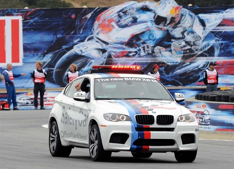 Illustration for article titled BMW X6 M Paces Laguna Seca MotoGP Race