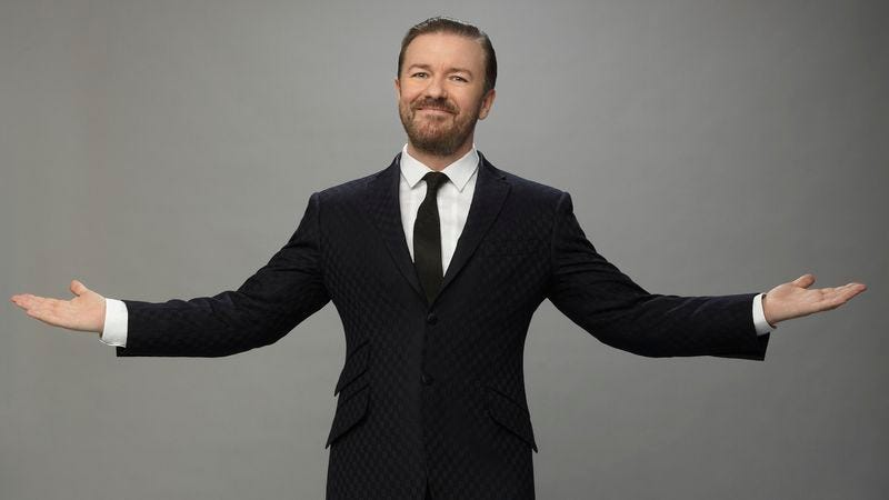 Illustration for article titled Ricky Gervais is back to break Hollywood's balls—or rather, its Globes