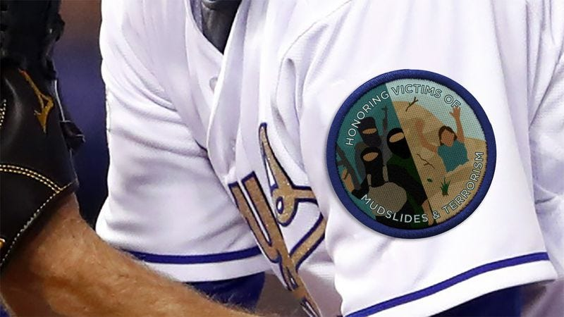 Illustration for article titled Beautiful: The Kansas City Royals Are Wearing A Uniform Patch All Season Honoring Anyone Who Died In Mudslides Or Terrorist Attacks