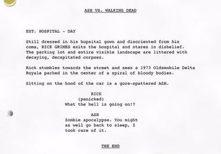 """Illustration for article titled Bruce Campbell """"Leaks"""" a Script for the Ash Vs.Walking Dead Crossover We've Always Wanted"""