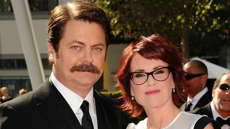"Illustration for article titled Megan Mullally and Nick Offerman answer your questions on how to ""engage in romantic love"""