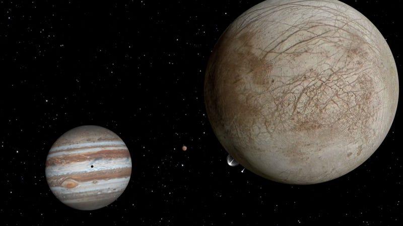 Los enormes géiseres de agua de Europa, la luna de Júpiter. Imagen: NASA, ESA y G. Bacon (STScI)