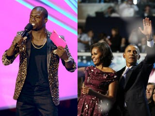 Kevin Hart hosting VMAs (Kevin Winter/Getty Images); President Obama andMichelle Obama at the DNC (The Washington Post)