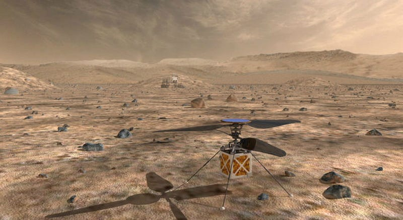 Artist's concept of a Martian helicopter.