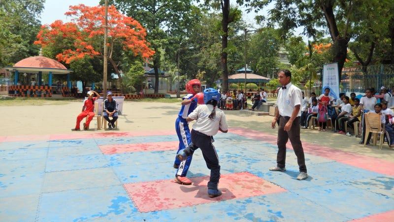 Pushpita Jha fights her opponent at a kickboxing match in APC Park (Photo credit: Swati Sanyal Tarafdar)