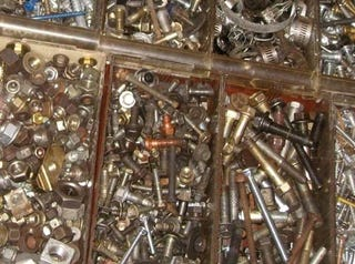 Illustration for article titled How Well Organized Is Your Junkyard Fastener Collection?