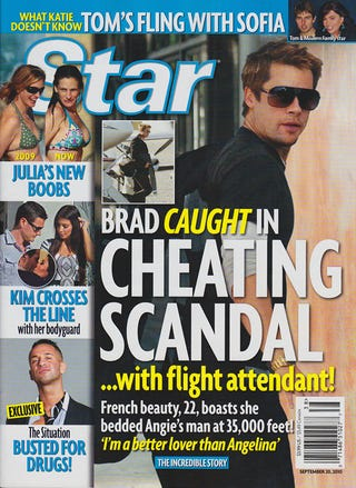 Illustration for article titled This Week In Tabloids: Brad Cheats On Angie With Flight Attendant