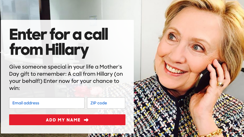 Illustration for article titled Hillary Clinton Might Call Your Anti-Hillary Mom for Mother's Day