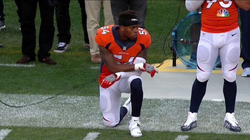 Illustration for article titled Broncos LB Brandon Marshall Will Continue Protesting Anthem Despite Losing Endorsements