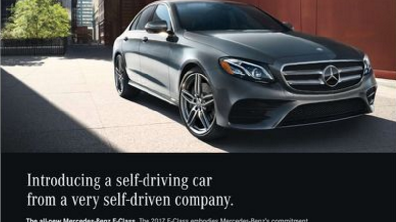 mercedes 39 self driven 39 advertisement doesn 39 t feature a self driving car update. Black Bedroom Furniture Sets. Home Design Ideas