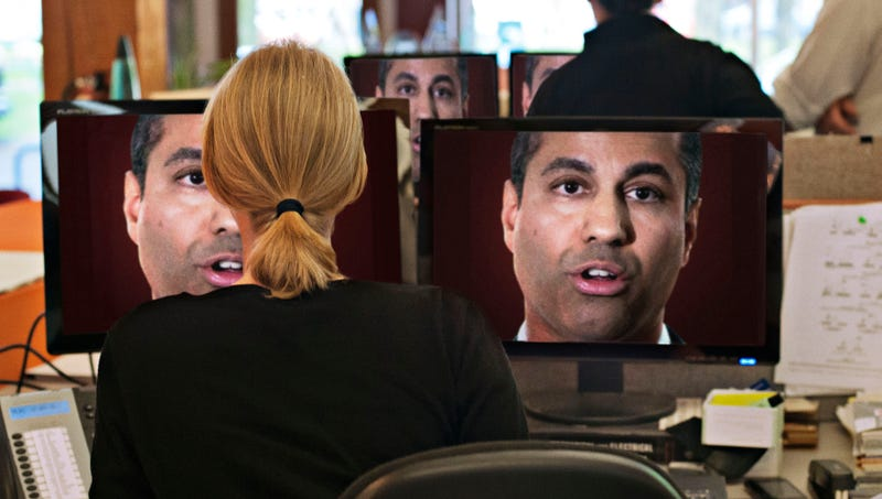 Illustration for article titled 'Repealing Net Neutrality Will Help Spur Innovation,' Announces Face Of Ajit Pai Blaring From Every Computer Screen In Nation