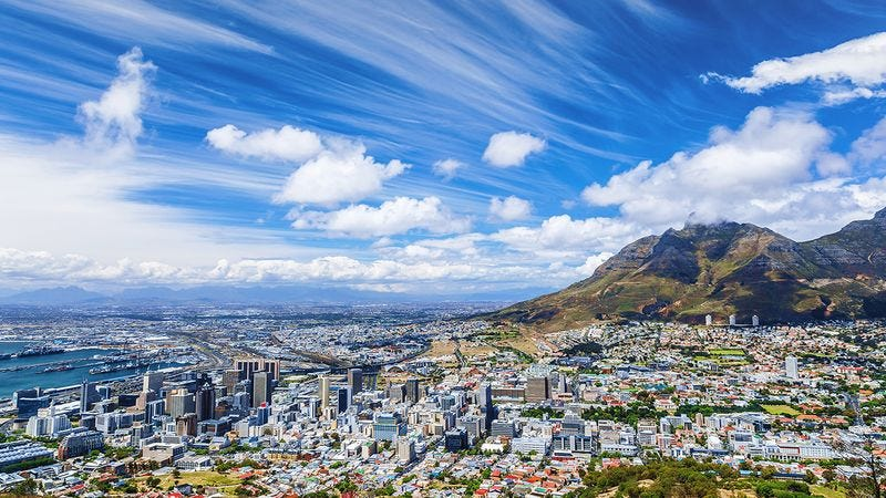 The skyline of Cape Town, South Africa.