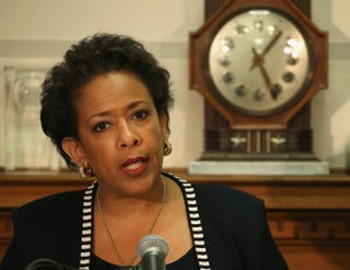 Attorney General Loretta Lynch speaks about the recent violence in Baltimore during a news conference at the Justice Department April 29, 2015, in Washington, D.C. This is Lynch's first on-camera news conference since being sworn in.Mark Wilson/Getty Images