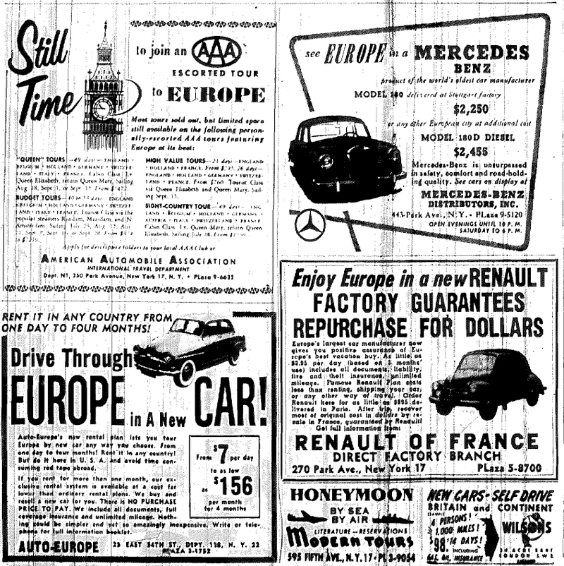 Illustration for article titled 1956 Car Ads in the 1956 NY Times
