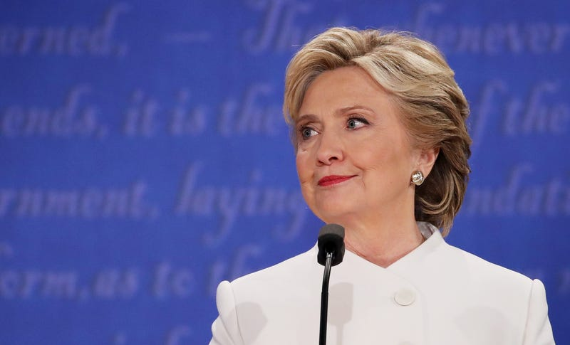 Democratic presidential nominee Hillary Clinton listens to Republican presidential nominee Donald Trump speak during the third U.S. presidential debate at the Thomas & Mack Center in Las Vegas on Oct. 19, 2016.Drew Angerer/Getty Images