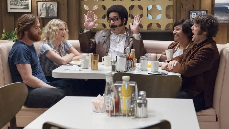 Andrew Santino, Ari Graynor, Erik Griffin, Al Madrigal, and Jake Lacy (Photo: Lacey Terrell/Showtime)