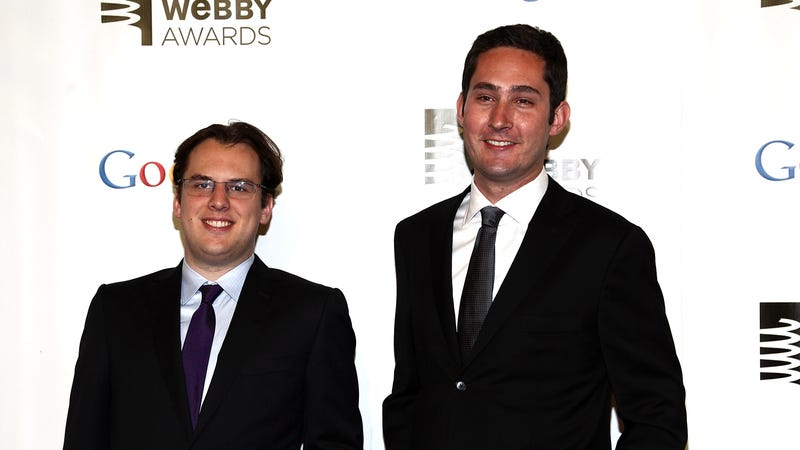 Instagram co-founders Mike Krieger (left) and Kevin Systrom (right) at the 2012 Webby Awards.