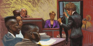 Courtroom drawing from the Central Park Five trial (PBS)