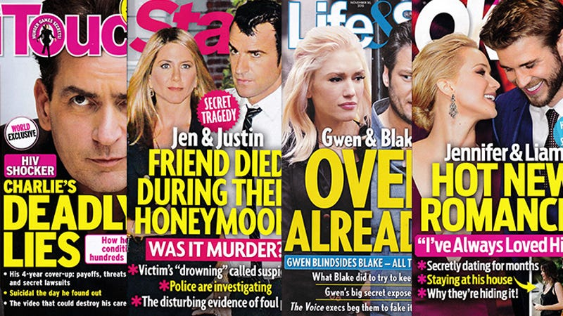 Illustration for article titled This Week In Tabloids: Jen and Justin's Friend May Have Been Murdered During Their Honeymoon?!