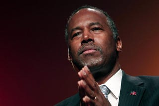 Republican Ben Carson, a retired pediatric neurosurgeon, speaks as he officially announces his candidacy for president of the United States at the Music Hall Center for the Performing Arts in Detroit May 4, 2015.Bill Pugliano/Getty Images