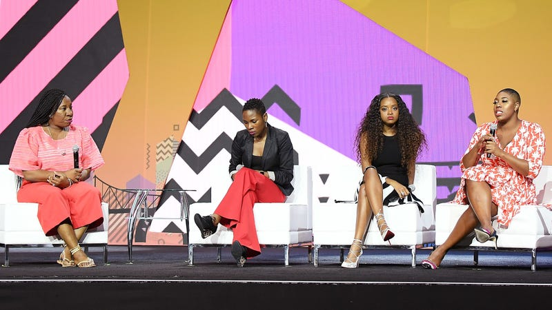 Tarana Burke, left, Luvvie Ajayi, Tamika Mallory, and Symone Sanders speak onstage during the 2018 Essence Festival presented by Coca-Cola on July 6, 2018 in New Orleans, Louisiana.