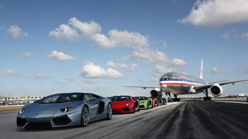 Illustration for article titled Six Of These Are Lamborghini Aventador Roadsters And One Is A Plane