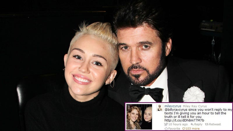 Illustration for article titled Miley Threatens Her Dad With Ominous, Homewrecking Tweet