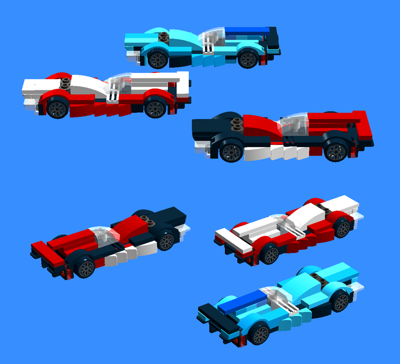 Defending champions Nissan-1 (Mardenborough, Ordonez, Dekranowitcsz; Red with white middle), runner-up Nissan-2 (Akaragi, Kagarogi, Elliott; black with white power dome, fin and wing), and Calsonic-30 (Vidal, Ortelli, Zschekxoff; blue hues in tessellated patterns)