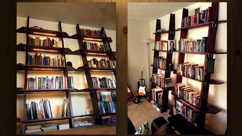 Leaning bookshelves can be great space-savers that look great in even small  spaces. This set of good looking hand-built bookshelves also pack under- shelf ...