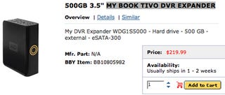 Illustration for article titled Best Buy Leaks First TiVo External HDD?