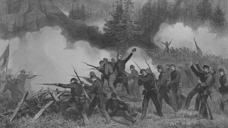 An engraving of the battle of Rich Mountain during the US Civil War.