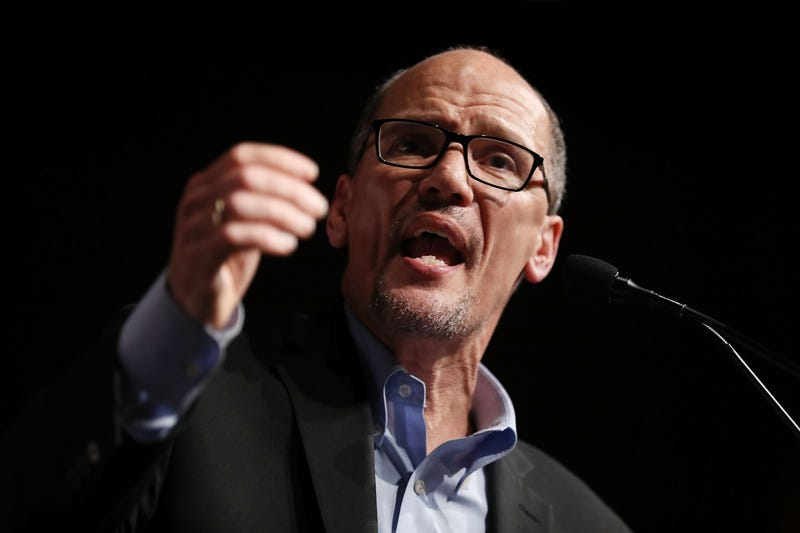 DNC Chair Tom Perez speaks during a 'Come Together and Fight Back' tour at the James L Knight Center on April 19, 2017 in Miami, Fla.