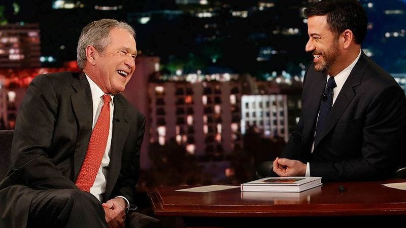 George W. Bush and Jimmy Kimmel yuk it up about a decade-old comedy sketch.