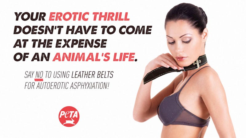 Illustration for article titled Animal Rights FTW: PETA Has Launched A New Ad Campaign Encouraging People To Use Non-Leather Belts For Autoerotic Asphyxiation