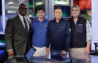 Fox News anchor Charles Payne, Ian Murray, Golfer Jason Dufner and Shep Murray on April 24, 2015, in New York City. (John Lamparski/Getty Images)