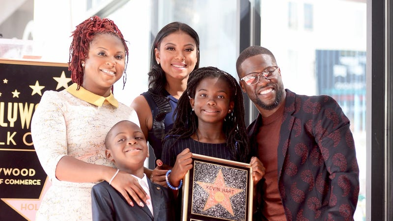 Torrei Hart, Eniko Parrish Hart and Kevin Hart with the Hart children (Matt Winkelmeyer/Getty Images)