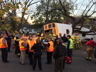 Emergency workers at the scene of a school bus crash in Chattanooga, Tenn., on Nov. 21, 2016Twitter Screenshot