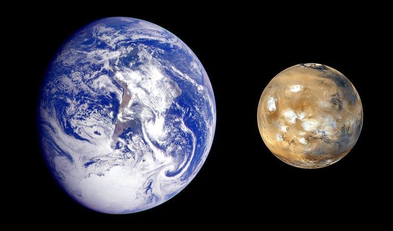 Tamaño de Marte comparado con el de la Tierra. Imagen: NASA